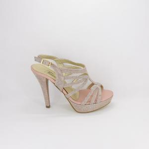 Sandalo donna elegante da cerimonia in tessuto glitter  rosa con cinghietta regolabile  Art. A558 Gi. Effe Ci.
