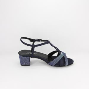 Sandalo donna elegante da cerimonia in tessuto di raso blu e inserti  tessuto glitter  con cinghietta regolabile  Art. A482  Gi Effe Ci