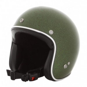 HOLY FREEDOM Metalflake Open Face Helmet - Dark Green