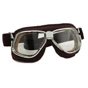 NANNINI Cruiser Helmet Goggles - Chrome/Brown