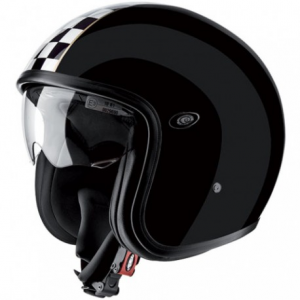 PREMIER Vintage CK Black Open Face Helmet - Black