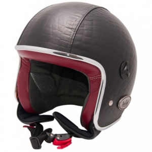 BARUFFALDI ZEON VINTAGE CROCCO Jet Helmet - Black and Red