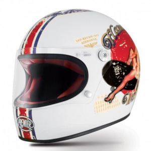 PREMIER Trophy Pin Up Full Face Helmet - White