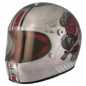 PREMIER Trophy Pin Up Full Face Helmet - Silver