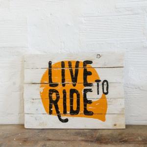 BERIDER Live To Ride Cafe Racer Wood Sign - Orange