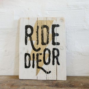 BERIDER Ride or Die Cafe Racer Wood Sign - Gold