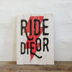 BERIDER Ride or Die Cafe Racer Wood Sign - Red