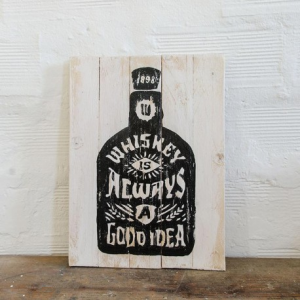 BERIDER Whiskey Cafe Racer Wood Sign - 30x40