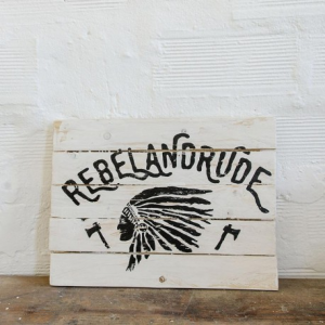 BERIDER Rebel and Rude Cafe Racer Wood Sign - 40x30