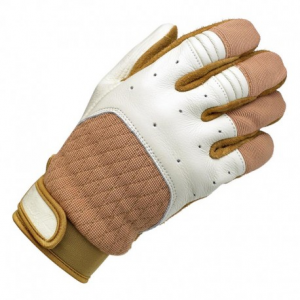 BILTWELL Bantam Motorcycle Gloves - Beige/White