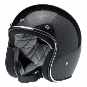 BILTWELL Bonanza MINIFLAKE Open Face Helmet - Midnight Black