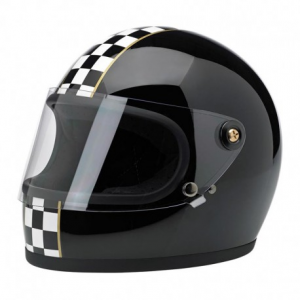 BILTWELL GRINGO S LE CHECKER GLOSS BLACK Casco Integrale - Nero Lucido