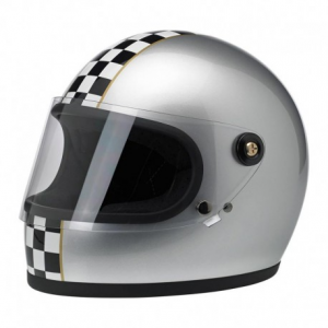 BILTWELL Gringo S LE CHECKER Full Face Helmet - Metallic Silver