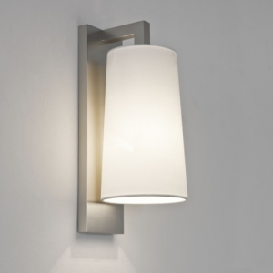 LAGO applique nichel con vetro bianco