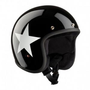 BANDIT STAR ECE Jet Helmet - Black and White