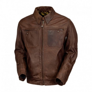 ROLAND SANDS DESIGN City Leather Jacket Man - Tobacco Brown