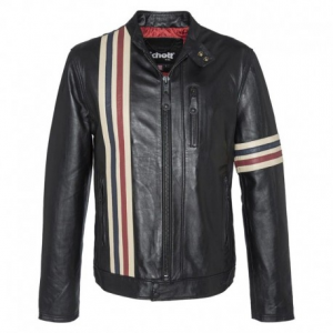 SCHOTT NYC Racer Stripes Leather Jacket Man - Black