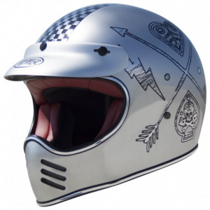 PREMIER MX NX Chromed Full Face Helmet - Grey
