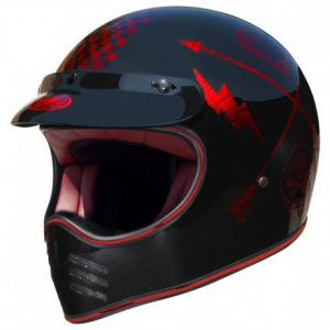 PREMIER MX NX Red Chromed Full Face Helmet - Black