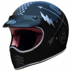 PREMIER MX NX Silver Chromed Full Face Helmet - Black