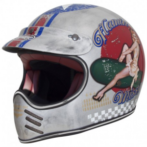 PREMIER MX Pin Up Old Style Full Face Helmet - Silver