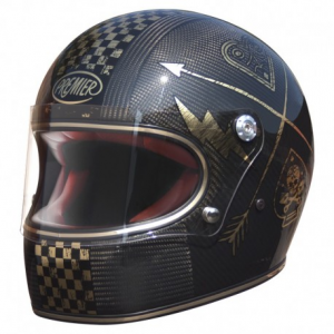 PREMIER Trophy CARBON NX Gold Chromed Full Face Helmet - Carbon Black