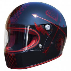 PREMIER Trophy NX Red Chromed Full Face Helmet - Black