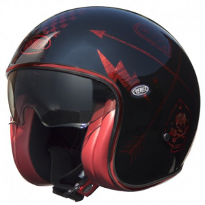 PREMIER Vintage NX Red Chromed Open Face Helmet - Black