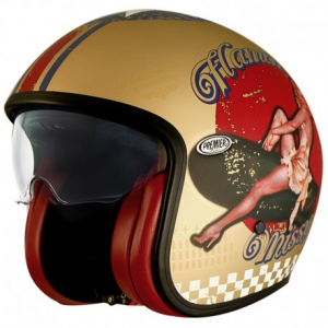 PREMIER Vintage PINUP Gold BM Open Face Helmet - Gold