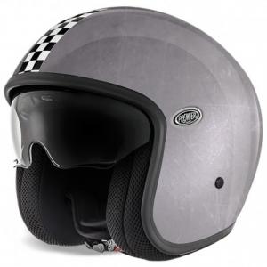 PREMIER Vintage CK Old Style Silver Open Face Helmet - Silver
