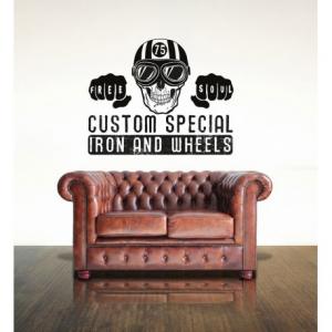 VISUAL THINK Custom Special Iron & Wheels MC 16 Wall Sticker - Black