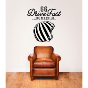 VISUAL THINK Drive Fast 66 MC 12 Wall Sticker - Black
