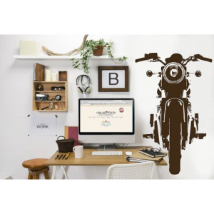 VISUAL THINK Vintage Motorcycle MC 07 Wall Sticker - Black