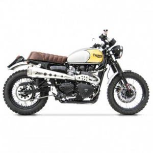 ZARD 2 in 1 High Mounted Short Full Exhaust for Triumph Scrambler - Stainless Steel