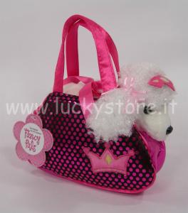 Aurora Poodle Fuxia in borsetta barboncino cane peluche 25 cm qualità extra