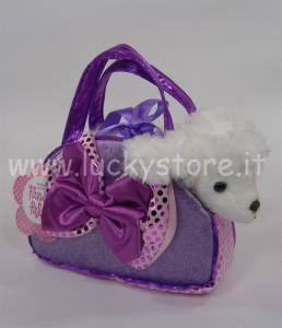 Aurora Poodle Purple in borsetta barboncino cane peluche 25 cm qualità extra