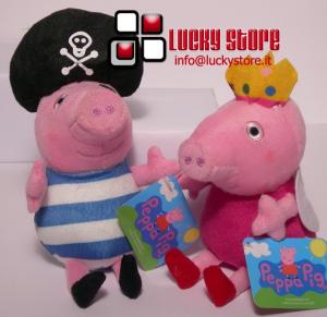 Peppa George Pig coppia Principessa Pirata peluche 20 cm
