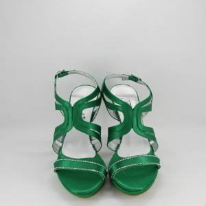 Sandalo donna elegante da cerimonia in tessuto di raso verde smeraldo con applicazione cristalli e cinghietta regolabile  Art. A555 Gi.Effe Ci.