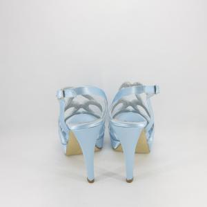 Sandalo donna elegante da cerimonia in tessuto di raso azzurro con cinghietta regolabile  Art. 1081 Gi.Effe Ci.