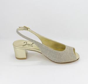 Sandalo donna elegante da cerimonia in tessuto glitter  oro con cinghietta regolabile  Art. A94