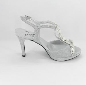 Sandalo donna elegante da cerimonia in tessuto glitter  argento con applicazioni cristalli e cinghietta regolabile  Art. 1030