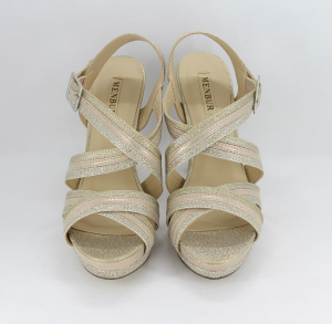 Sandalo donna elegante da cerimonia in tessuto glitter platino/oro/cipria con cinghietta regolabile  Art. 07473DD97 Menbur