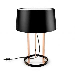 PREMIUM lampada da tavolo in rame con tessuto nero