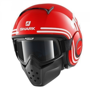 SHARK DRAK 72 - Jet Helmet - Red - Black and White