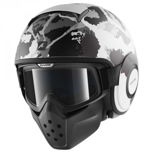 SHARK DRAK KURTZ - Jet Helmet - Matt White - Silver and Anthracite