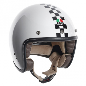 AGV CITY RP-60 Multi Checker Flag - Jet Helmet - White