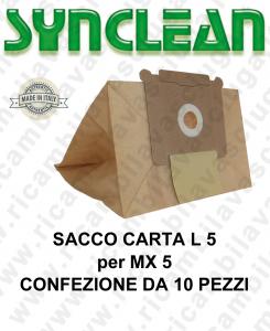 SACCO CARTA litri 5 per MAXICLEAN mod. MX 5 confezione da 10 pezzi
