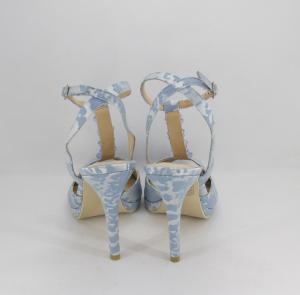 Sandalo donna elegante da cerimonia in tessuto di raso damascato con cinghietta regolabile  e applicazioni cristalli e strass Art. BS404