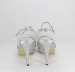 Sandalo donna elegante da cerimonia in tessuto di raso grigio con applicazioni cristallo e cinghietta regolabile  Art.  Z600005