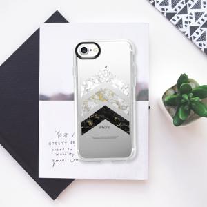 CASETIFY - cover con FRECCE ORO E MARMO per iphone 7 e 8 (retro semi trasparente)